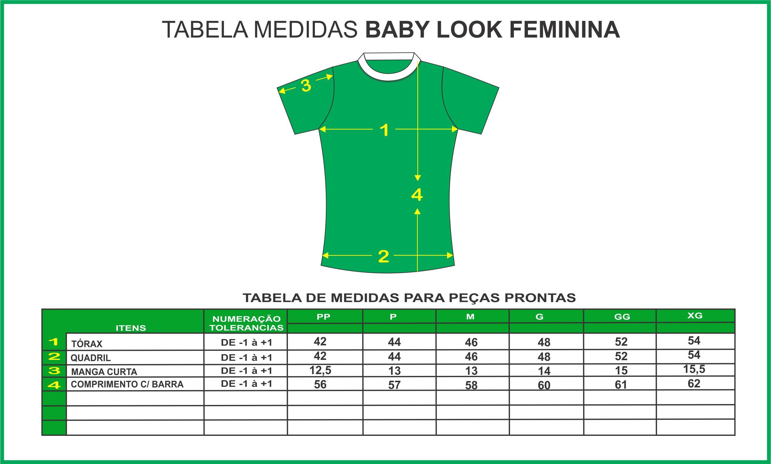 TABELA DE MEDIDAS BABY LOOK NOVA