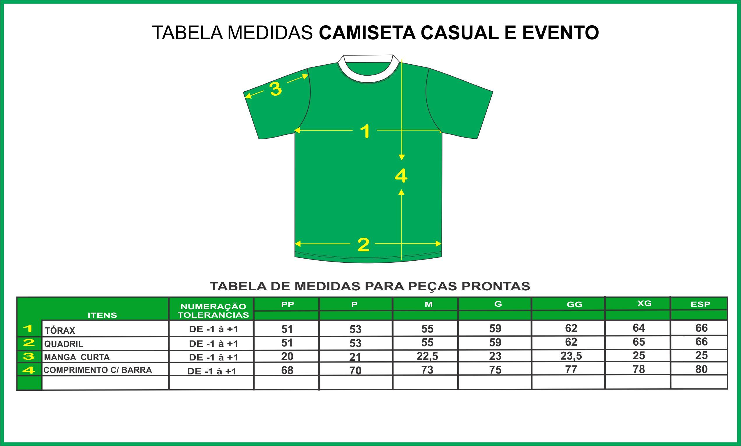 TABELA DE MEDIDAS CASUAL E EVENTO - NOVA